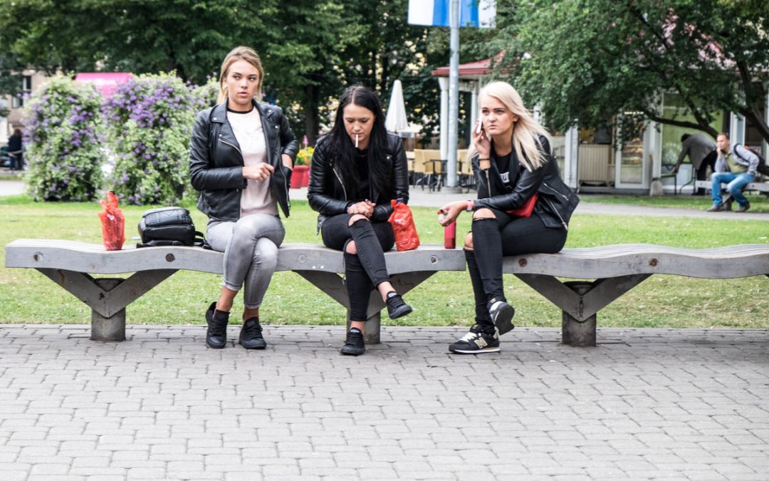 Three Women on Park Bench