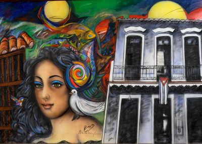 Cuba woman in mural